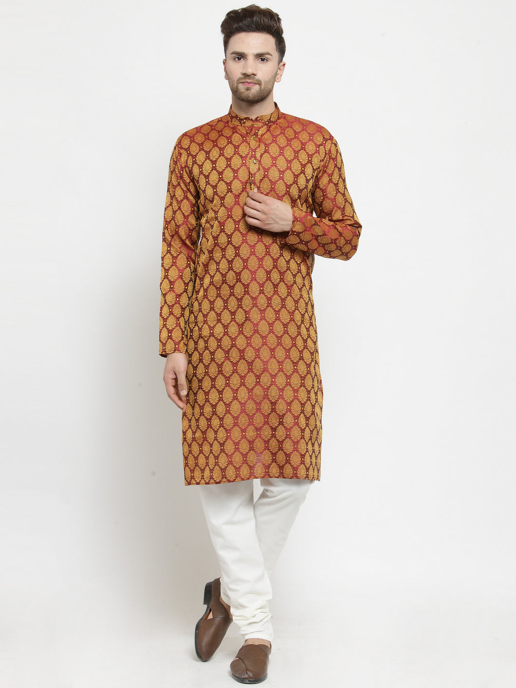 Men Maroon-Colored & Golden Self Design Kurta with Churidar
