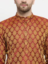 Load image into Gallery viewer, Men Maroon-Colored & Golden Self Design Kurta with Churidar