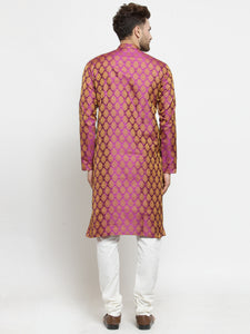 Men Pink-Colored & Golden Self Design Kurta with Churidar