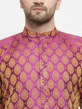 Load image into Gallery viewer, Men Pink-Colored & Golden Self Design Kurta with Churidar