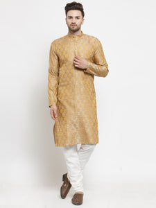 Men Silver-Colored & Golden Self Design Kurta with Churidar