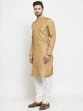 Load image into Gallery viewer, Men Silver-Colored & Golden Self Design Kurta with Churidar