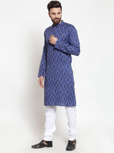 Men Navy-Blue Printed Kurta Only ( KO 587 Navy )