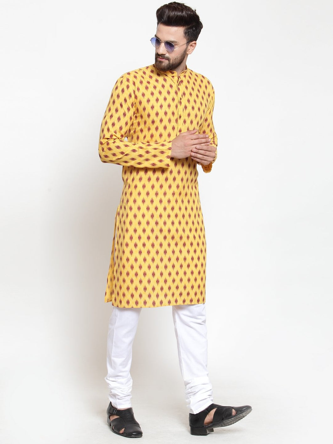 Men Yellow Printed Kurta Only ( KO 587 Yellow )