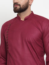 Load image into Gallery viewer, Jompers Men Maroon Solid Kurta with Churidar