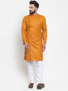 Jompers Men Mustard Solid Kurta Only ( KO 588 Mustard )
