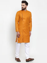 Load image into Gallery viewer, Jompers Men Mustard Solid Kurta with Churidar