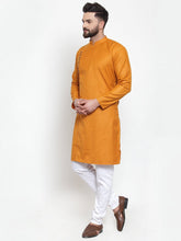 Load image into Gallery viewer, Jompers Men Mustard Solid Kurta Only ( KO 588 Mustard )
