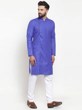 Load image into Gallery viewer, Jompers Men Royal-Blue Solid Kurta with Churidar