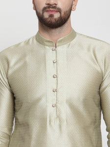 Jompers Men Beige & White Self Design Kurta with Churidar