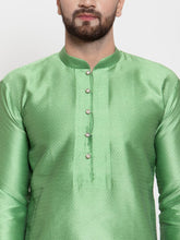Load image into Gallery viewer, Jompers Men Green & White Self Design Kurta Only
