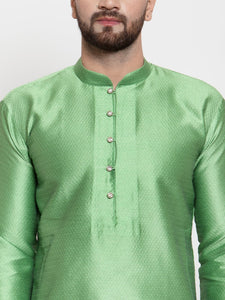 Jompers Men Green & White Self Design Kurta Only