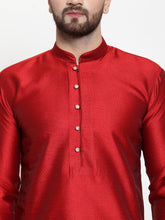 Load image into Gallery viewer, Jompers Men Maroon & White Self Design Kurta with Churidar