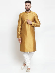 Jompers Men Mustard & White Self Design Kurta with Churidar