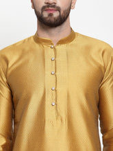 Load image into Gallery viewer, Jompers Men Mustard & White Self Design Kurta with Churidar