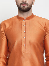Load image into Gallery viewer, Jompers Men Orange & White Self Design Kurta with Churidar