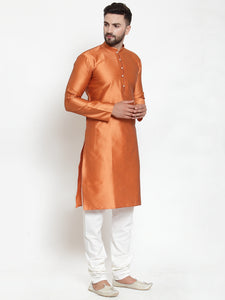 Jompers Men Orange & White Self Design Kurta with Churidar