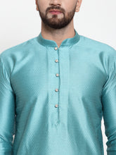 Load image into Gallery viewer, Jompers Men Light-Blue & White Self Design Kurta with Churidar
