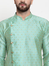 Load image into Gallery viewer, Jompers Men Sky-Blue & Golden Self Design Kurta with Churidar