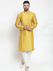 Jompers Men Yellow & Golden Self Design Kurta with Churidar