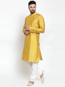 Jompers Men Yellow & Golden Self Design Kurta Only ( KO 590 Yellow )