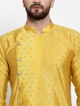 Load image into Gallery viewer, Jompers Men Yellow & Golden Self Design Kurta with Churidar