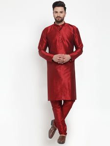 Jompers Men Maroon Solid Kurta with Churidar