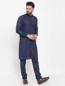 Jompers Men Navy-Blue Solid Kurta with Churidar