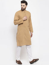 Load image into Gallery viewer, Jompers Men Beige & White Solid Pin-tucks Kurta Only