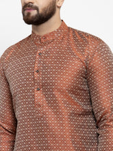 Load image into Gallery viewer, Jompers Men Orange & White Woven Design Kurta with Churidar