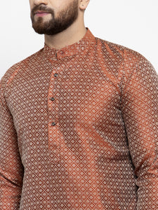 Jompers Men Orange & White Woven Design Kurta with Churidar