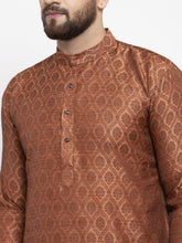 Load image into Gallery viewer, Jompers Men Brown & Grey Jacquard Kurta Only