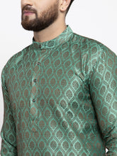 Load image into Gallery viewer, Jompers Men Green & Grey Jacquard Kurta Only ( KO 597 Green )