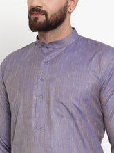 Load image into Gallery viewer, Jompers Men Blue & White Self Design Kurta with Churidar