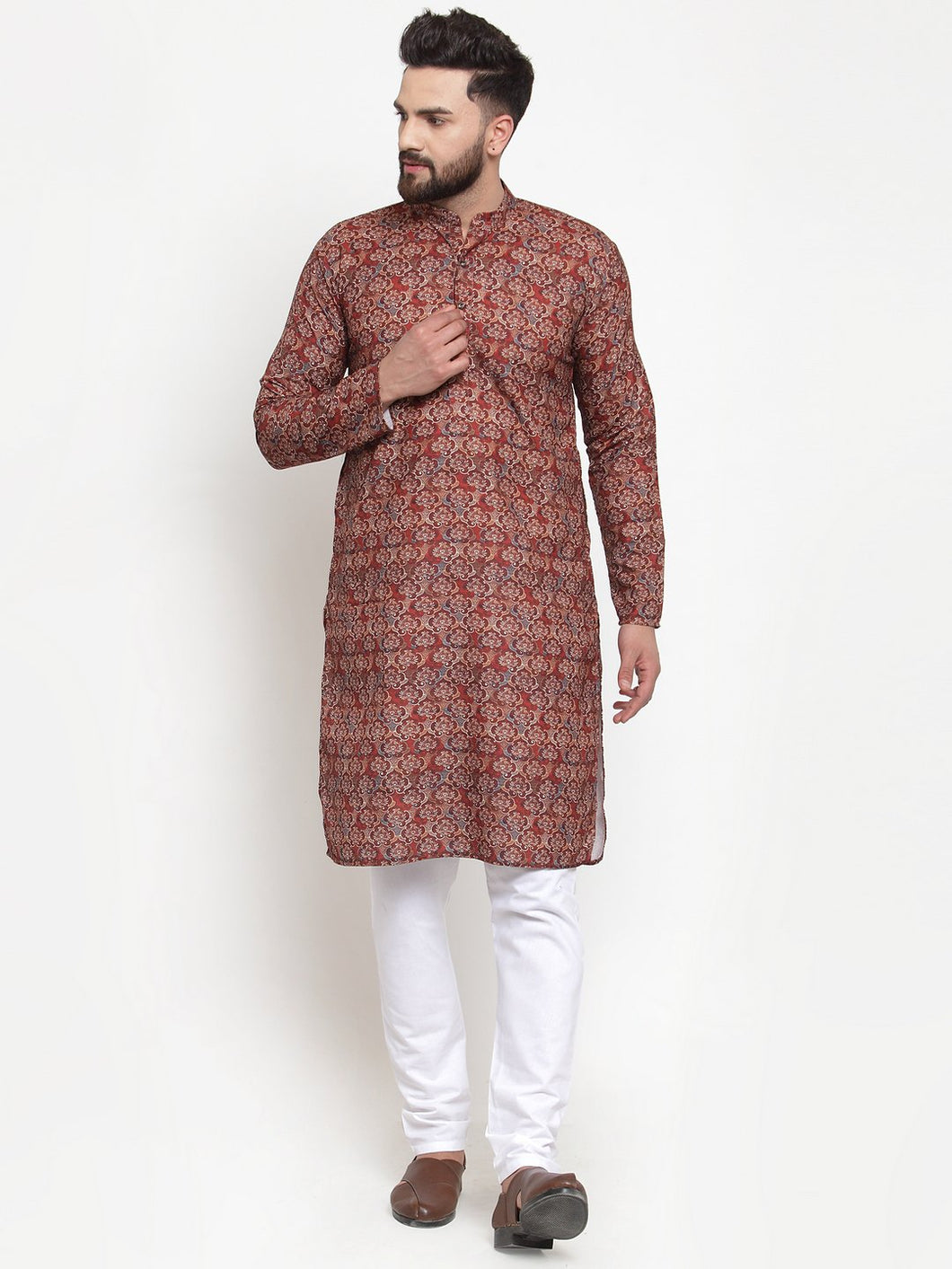Jompers Men Maroon & Beige Digital Printed Kurta Only ( KO 602 Maroon )