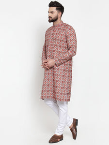 Jompers Men Peach & Beige Digital Printed Kurta Only