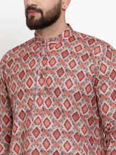 Load image into Gallery viewer, Jompers Men Peach & Beige Digital Printed Kurta Only