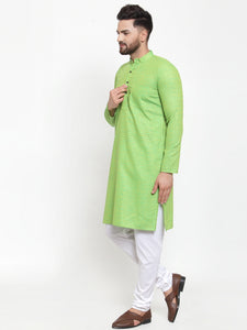 Jompers Men Green Checked Self Design Kurta with White Churidar