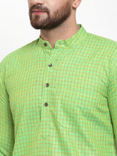 Load image into Gallery viewer, Jompers Men Green Checked Self Design Kurta with White Churidar