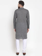 Load image into Gallery viewer, Jompers Men Grey Printed Kurta with White Churidar
