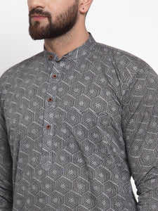 Jompers Men Grey Printed Kurta with White Churidar