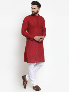 Jompers Men Red Printed Kurta with White Churidar
