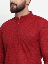 Load image into Gallery viewer, Jompers Men Red Printed Kurta with White Churidar