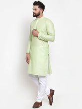 Load image into Gallery viewer, Jompers Men Green Self-design Kurta with Churidar