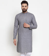 Load image into Gallery viewer, Jompers Men Grey Self-design Kurta Only ( KO 605 Grey )