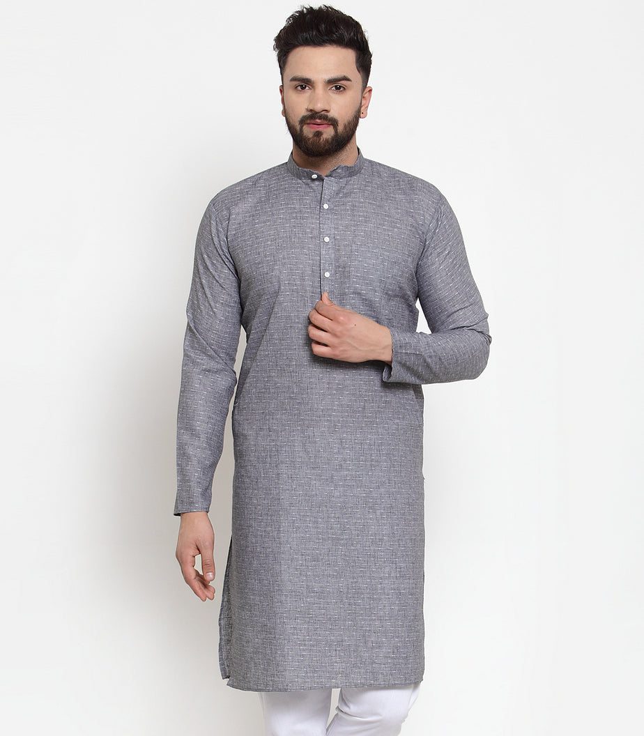 Jompers Men Grey Self-design Kurta Only ( KO 605 Grey )