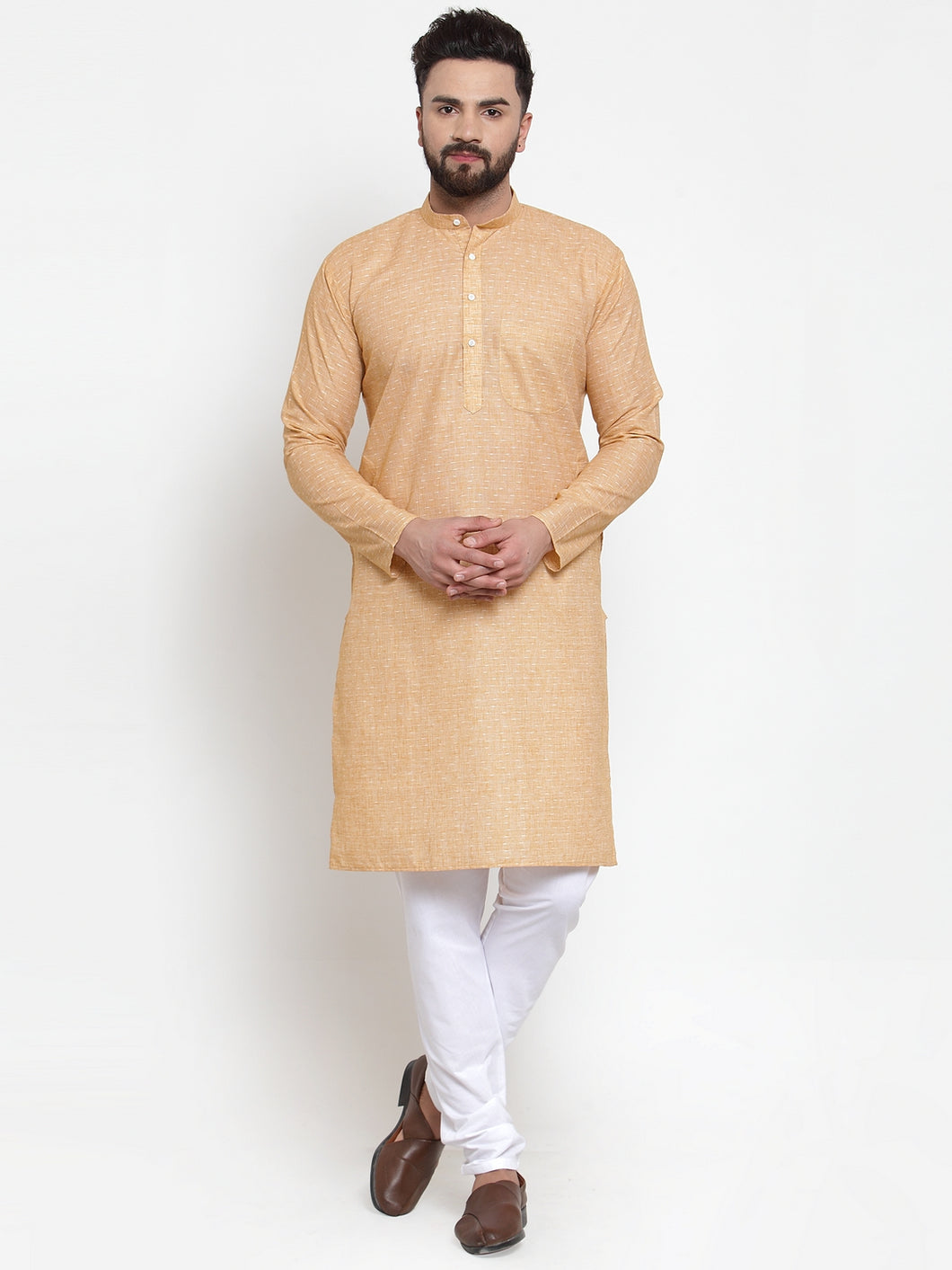 Jompers Men Orange Self-design Kurta with Churidar
