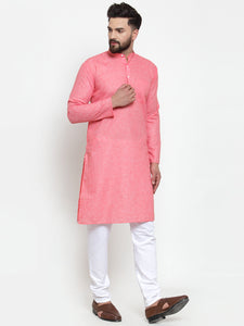 Jompers Men Pink Self-design Kurta with Churidar