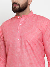 Load image into Gallery viewer, Jompers Men Pink Self-design Kurta with Churidar