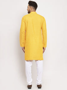 Jompers Men Yellow Woven Design Straight Kurta with Churidar